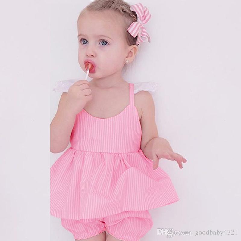 Meninas suspensórios vestido + shorts ternos conjuntos de roupas rosa listrado bonito para o bebê recém-nascido menina verão mini saia laço borboleta cinto para a criança