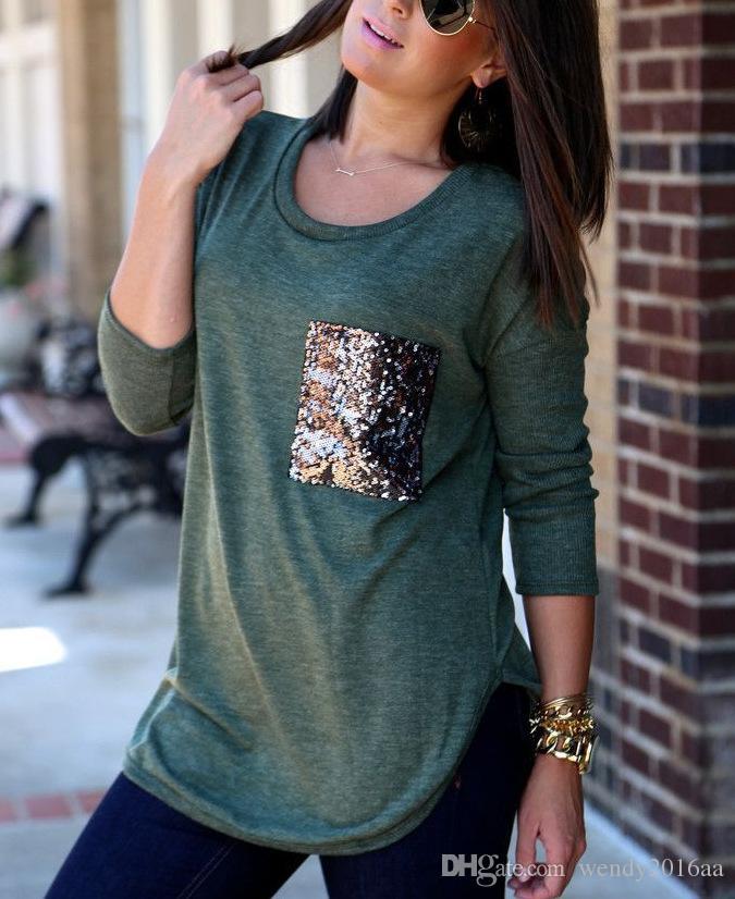 2016 mujeres del otoño de manga larga de poliéster Blusas Tops moda lentejuelas bolsillo decoración O-cuello camisas es tamaño S-2XL