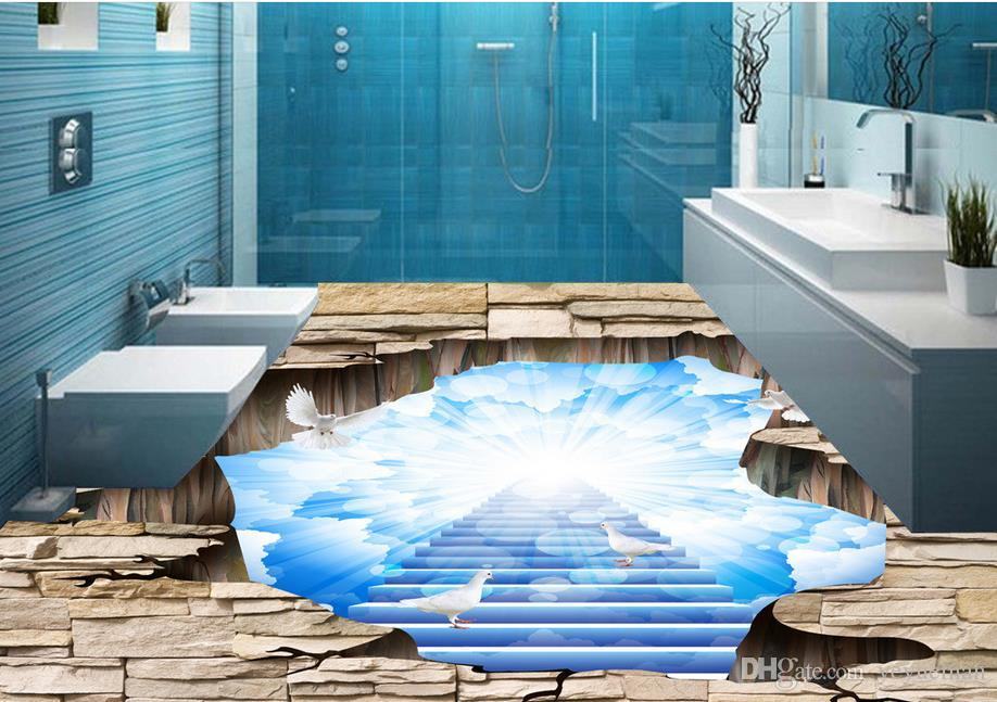 Custom 3d Floor Murals Beautiful Sky 3d Floor Painting For
