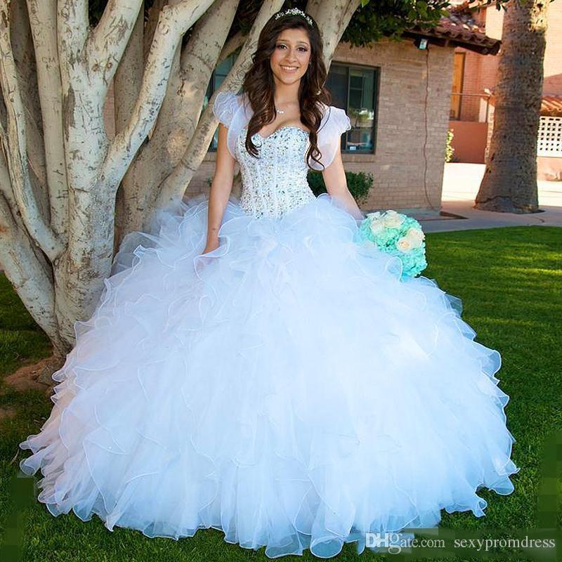 8630bde2706 White Beaded Ball Gown Quinceanera Dresses 2018 Organza Ruffles Tiered  Girls Pageant Gowns Cap Sleeves Floor Length Prom Evening Dresses Long  Sleeve Dresses ...