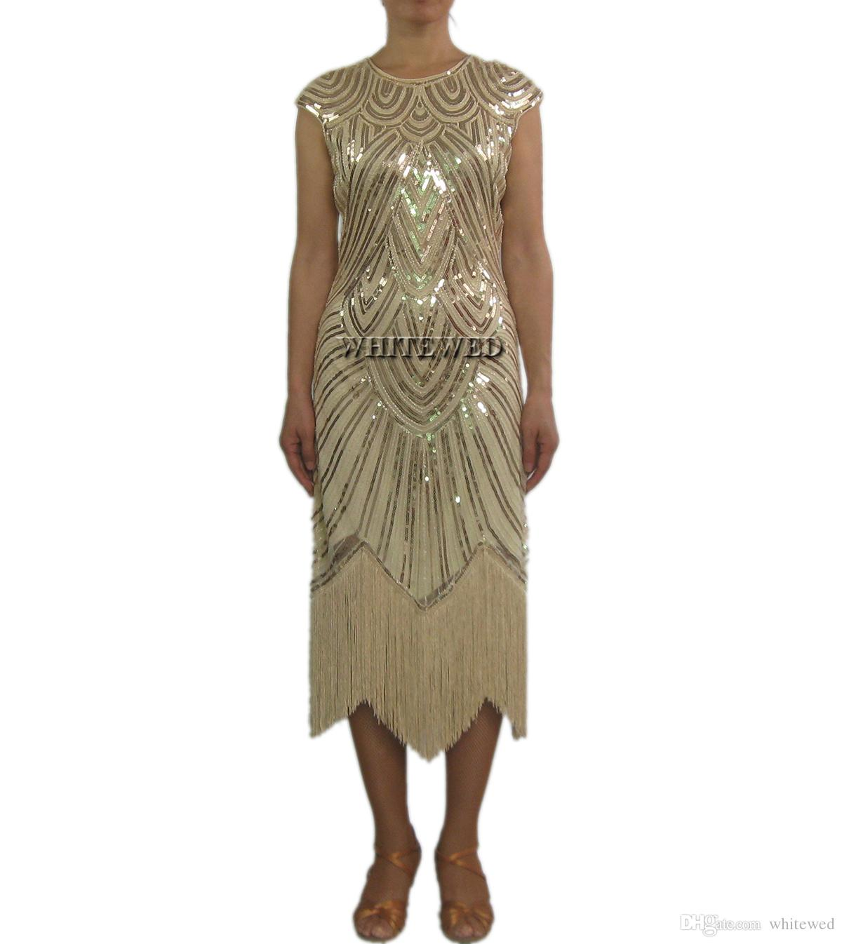 Retro Beaded 1920 Vintage Art Deco Cocktail Flapper Dresses Costume Long Jazz Era Flappers Great Gatsby Costume Dress Style in 1920's Women