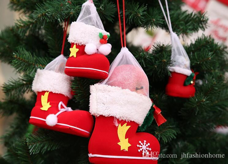Christmas Decorations Gifts For Christmas Tree Pendants Red Boots Flocking  Boots Christmas Pen Container Support Wholesale Party Supplies Christmas  Baubles ...