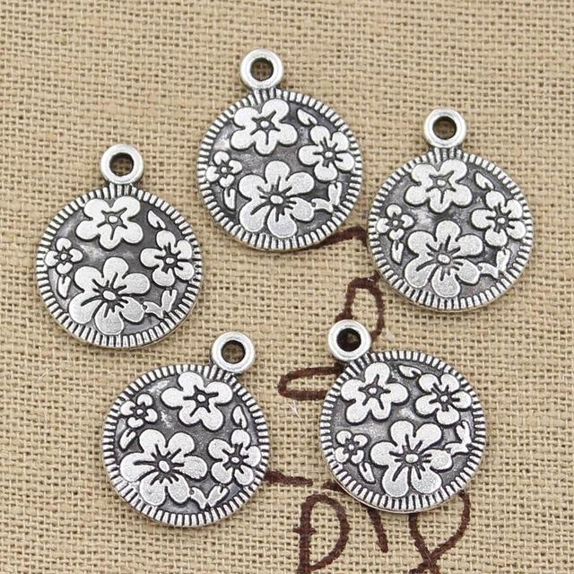 Wholesale 99Cents Charms Circle Flower 15mm Antique Making Pendant FitVintage Tibetan SilverDIY Bracelet Necklace Jewelry Purse Cap Charm Online