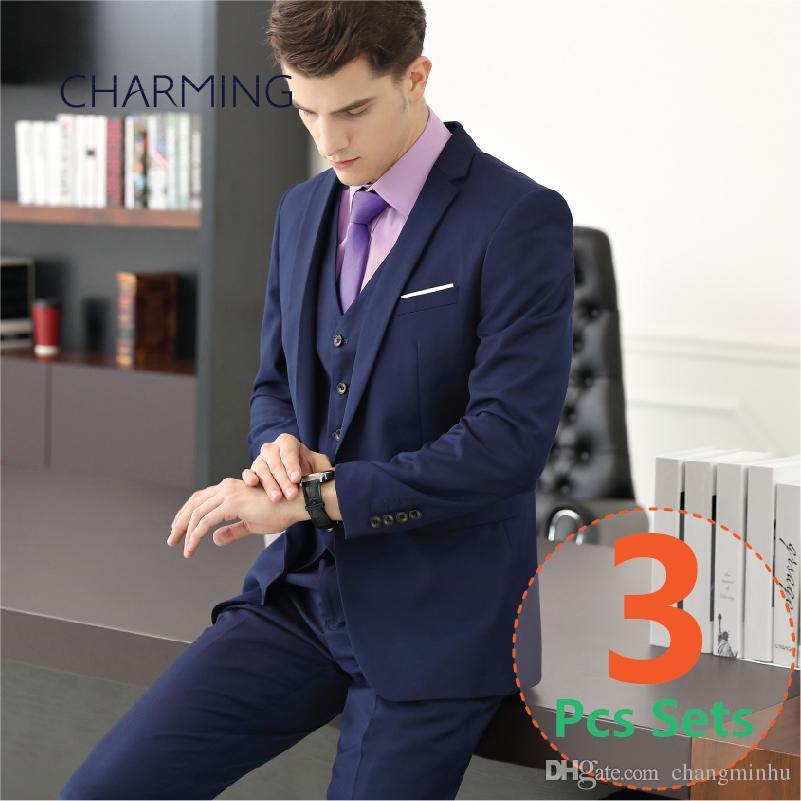 4f27b462 Navy mens suit 3PCS set (suit + vest + pants) High quality fabrics Wedding  groom suit Formal suits for men