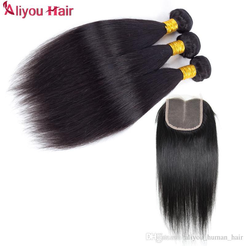Высокое качество необработанные бразильские девственные прямые человеческие волосы ткет с закрытием B2B Оптовая Реми волос утки кружева закрытие мягкие и шелковистые