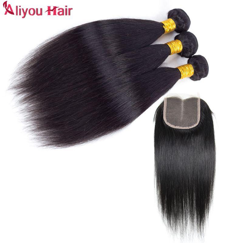 I capelli umani diritti vergini brasiliani superiori di alta qualità intrecciano con chiusura Il commercio all'ingrosso tessuti remy delle trecce dei capelli si chiudono in pizzo morbidi e setosi