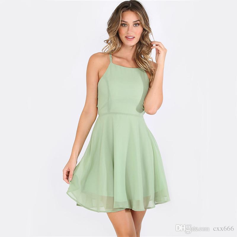 2017 Summer Hot Pink Cross Lace Up Backless Spaghetti Strap Short Skater Dress Women A Line Sleeveless Mini Dress