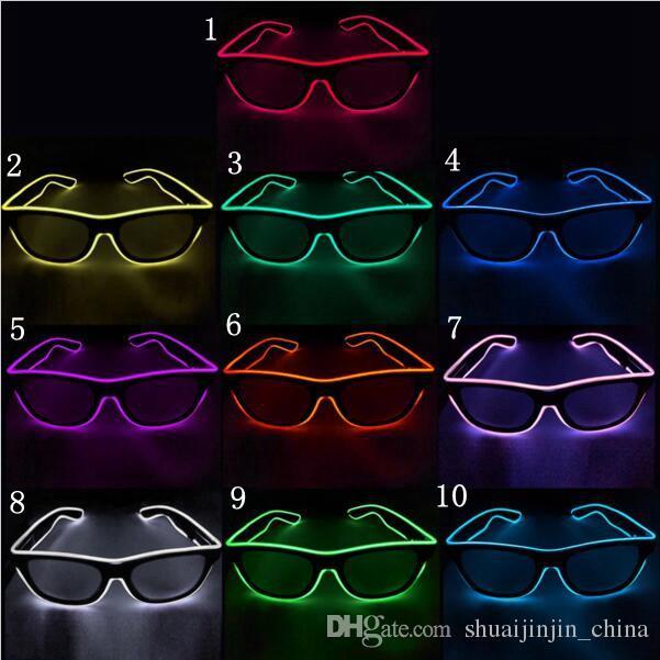 Gafas EL simples El Wire Fashion Neon LED Light Up Shutter Shaped Glow Gafas de sol Rave Costume Party DJ Bright SunGlasses OOA7136