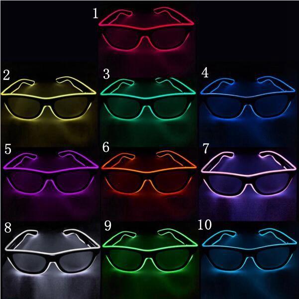 간단한 엘 안경 엘 와이어 패션 네온 LED 조명 셔터 모양의 글로우 태양 안경 레이브 의상 파티 DJ 밝은 선글라스 OOA7136