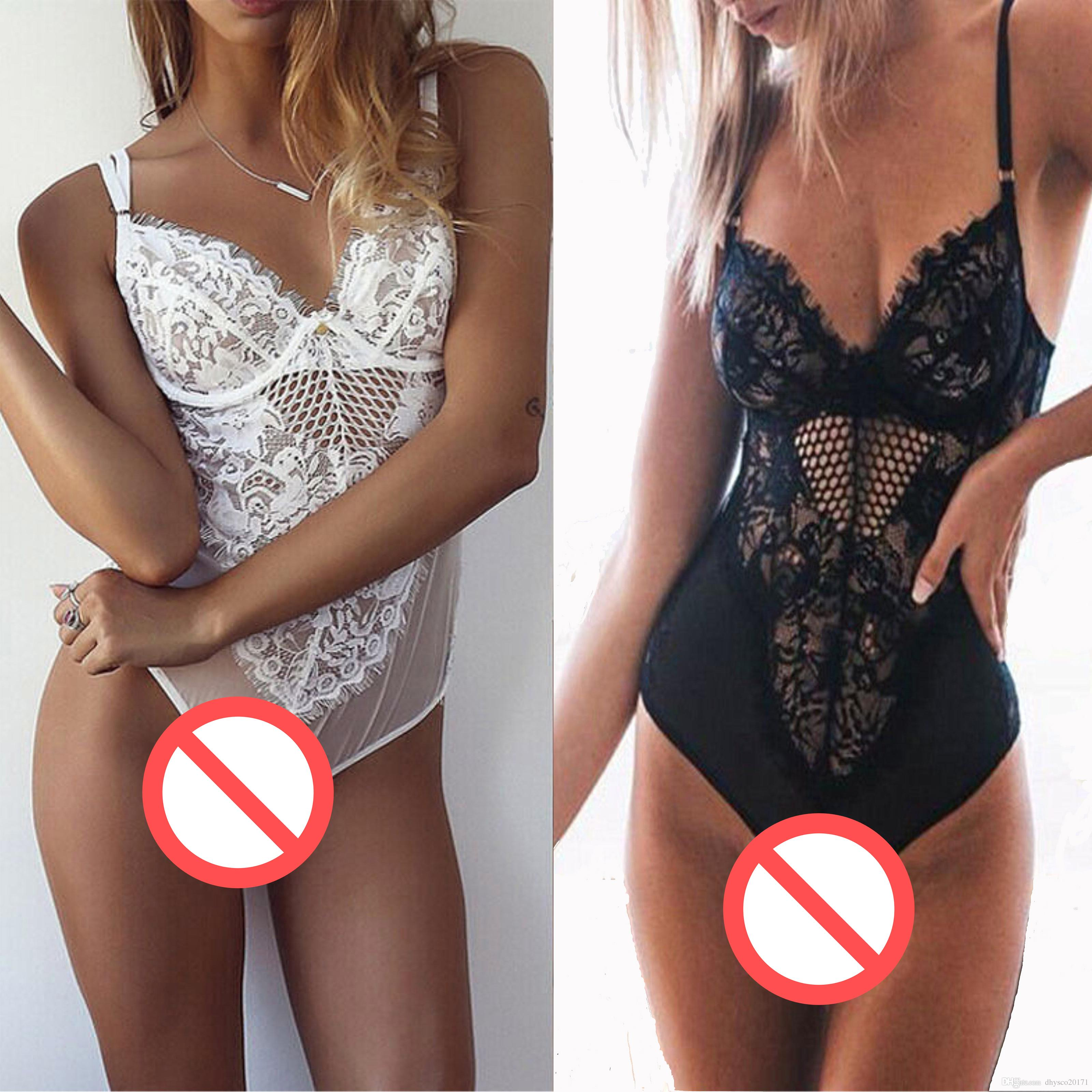 Free Shipping 2017 new underwear Sexy Women Spring black white Lace Siamese Night Sleep wear Babydoll Suit Lingerie Euramerican style