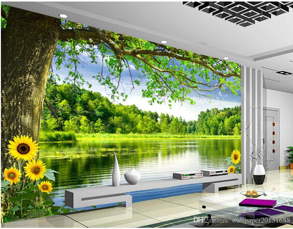 Compre lujo moderno rbol moderno paisaje mural 3d papel Papeles murales con diseno de paisajes