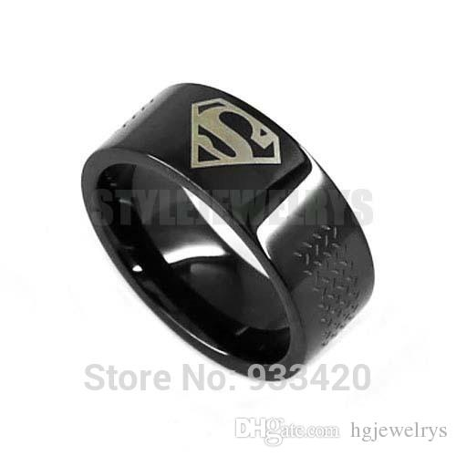 ! Classic Black Superman Motor Biker Ring Stainless Steel Jewelry Fashion Motor Biker Men Ring SWR0527B
