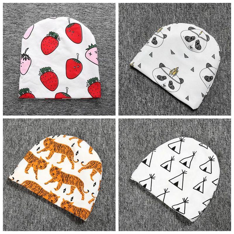 Kids Ins Xmas Beanie Ins Animals Christmas Hats Newborn Cartoon Fashion Caps Girl Fox Beanies Baby Print Cotton Caps Panda Tiger Hats F412