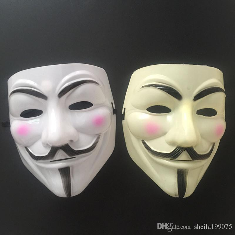 Nueva máscara V Vendetta blanco amarillo Máscara Anónimo Guy Fawkes Disfraz de fantasía para adultos Máscaras de Halloween Mascarada V Máscaras para Halloween