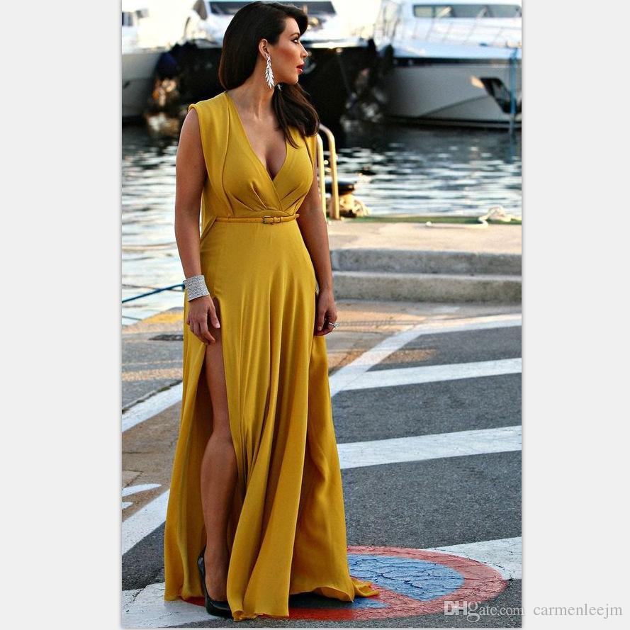 Sexy Split Long Maxi Dresses 2017 Large Size Women Chubby Ladies Long Party Dresses Beach Long Dresese Plus Size Women Clothing