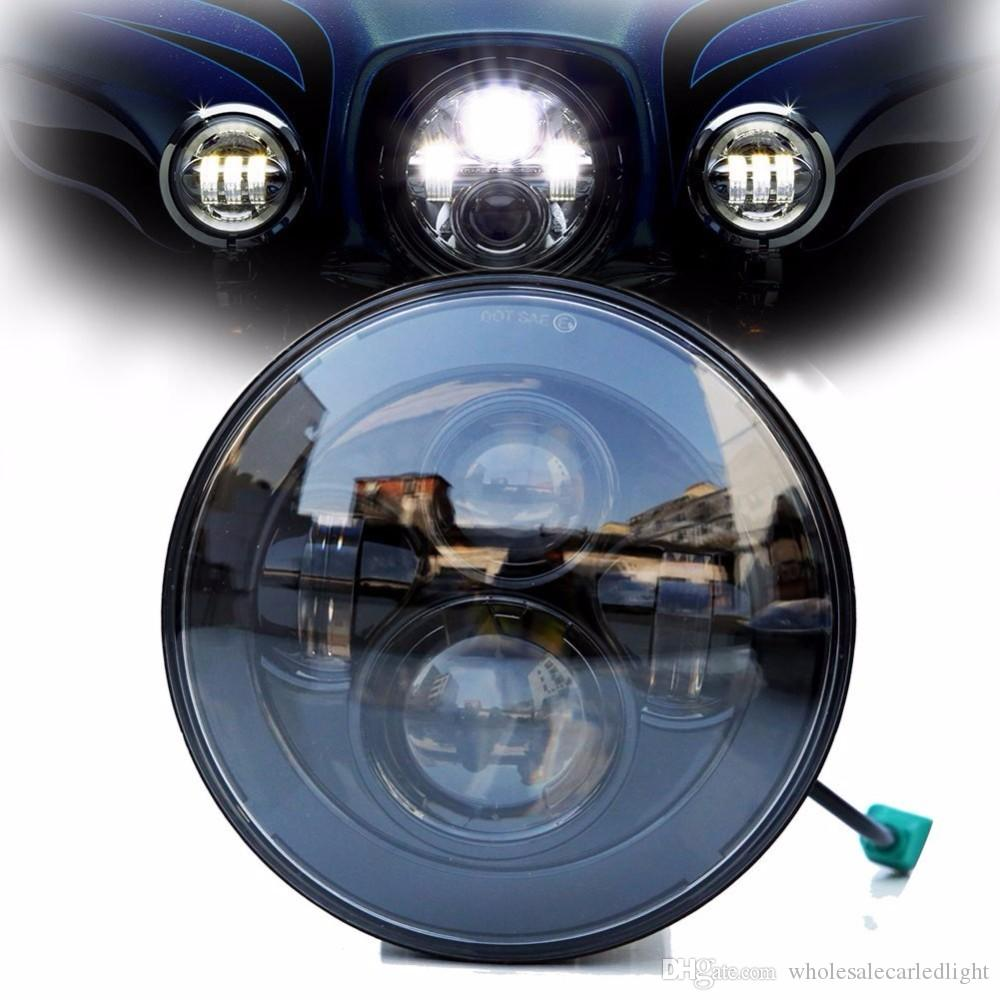 DOT E9 Mark 7 Inch Black Chrome Projector Daymaker HID LED Light Bulb  Headlight Harley Daymaker LED Projection Headlight for Harley Davidson