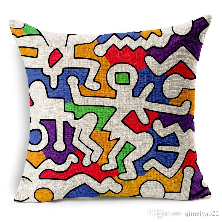 Keith Haring Capa de Almofada Decoração Casa Moderna Throw Pillow Caso Car Seat Vintage capa de almofada Nordic para o sofá decorativa fronha