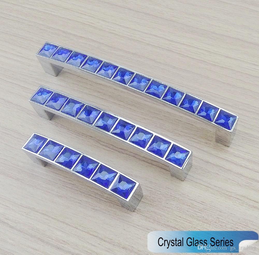 2018 New Crystal Glass Series Diamond Dark Blue Furniture Handle ...