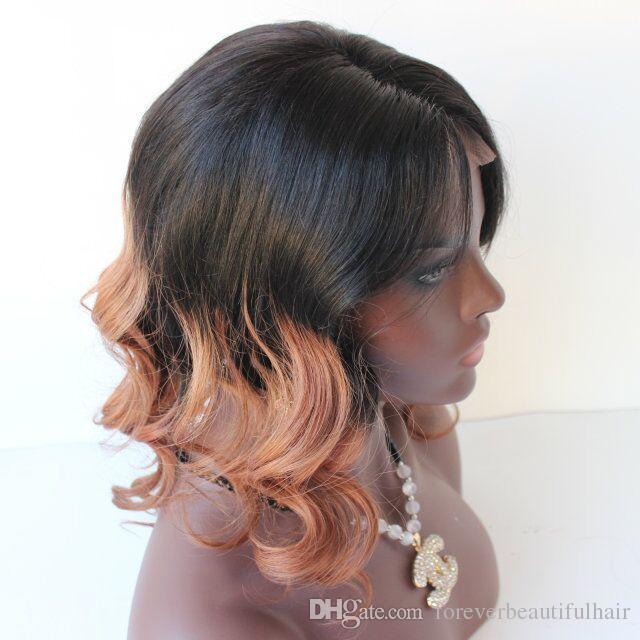 Ombre koyu kökleri iki ton İnsan saç tam dantel peruk # 1b / 30 ombre renk İnsan saç dalga dantel peruk kadın için Afro-amerikan