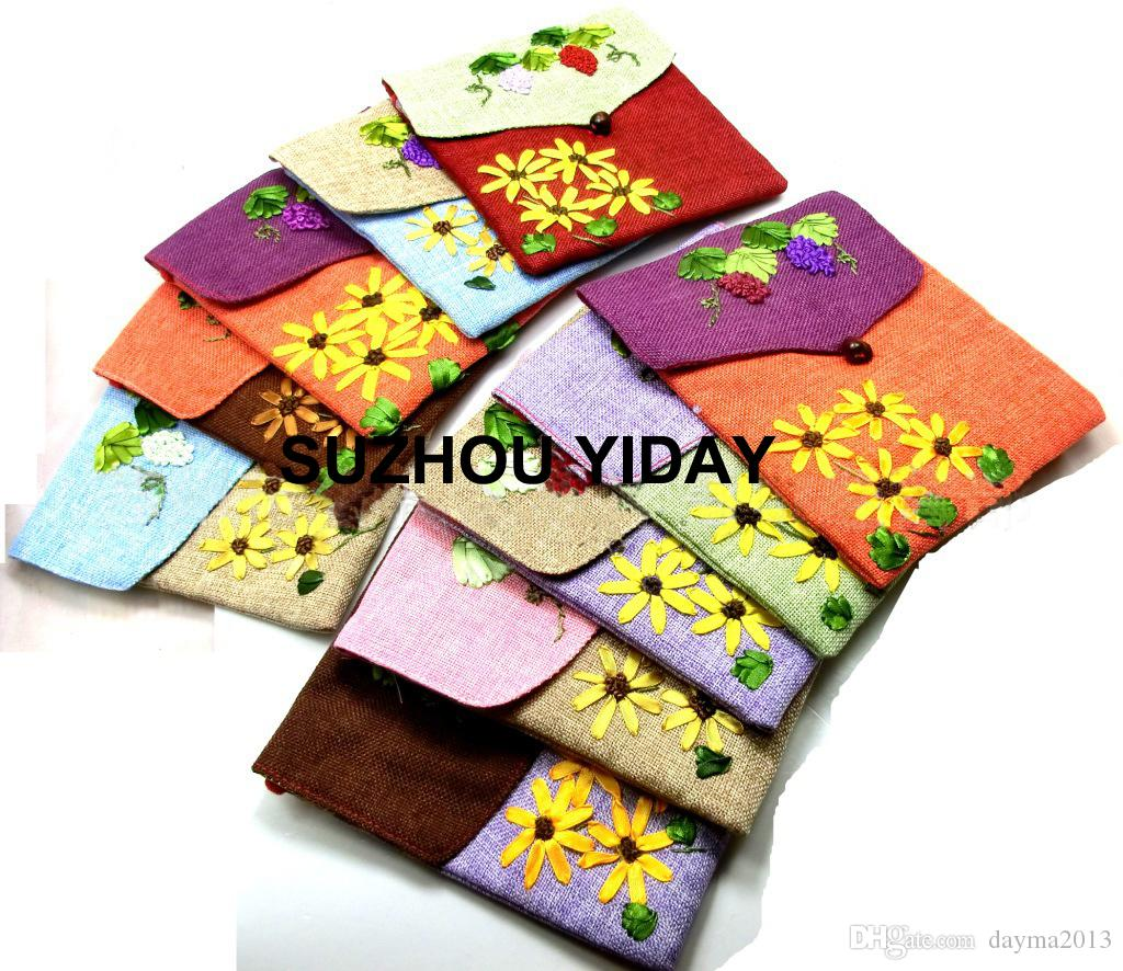 Wholesale Chinese stype Flax Embroidery female bag Single-sided embroidered messenger hand-made Linen bag