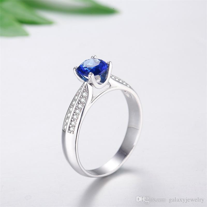 YHAMNI Original Real Solid 925 Sterling Silver Rings Fashion Blue Gem CZ Diamond Rings for Women Wedding Jewelry Gift Q-J007