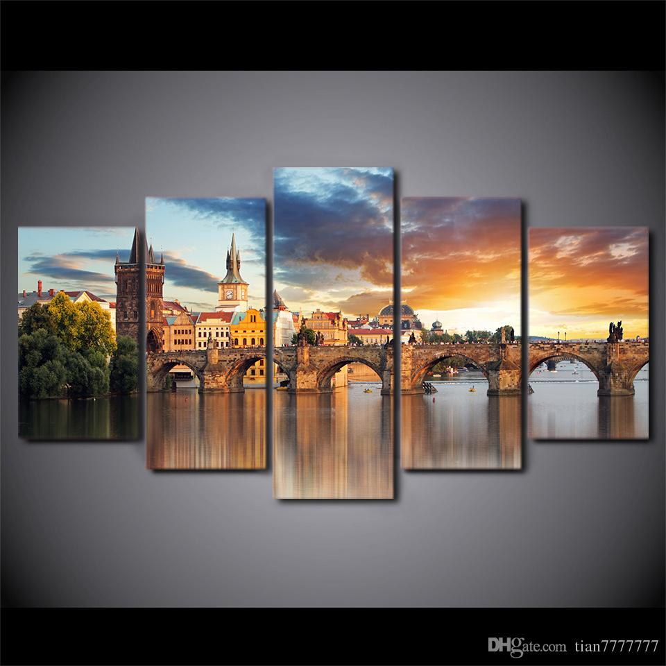 New bridge building landscape oil Painting Canvas art Print Picture for Living room Artwork Home decor wall poster Unframed