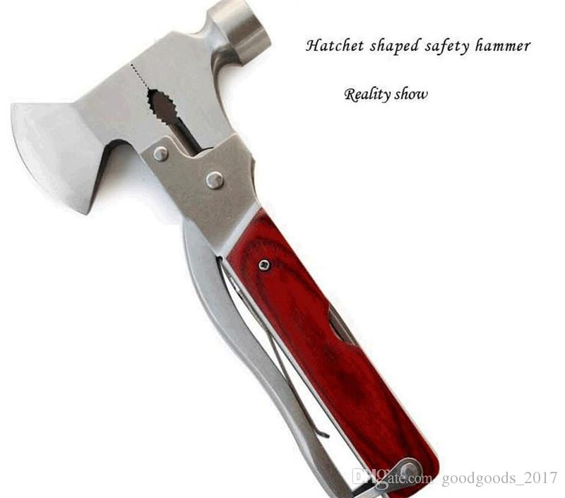 Outdoor multi-function tools car safety ax hammer multi-function emergency escape hammer sixteen in one ax M206