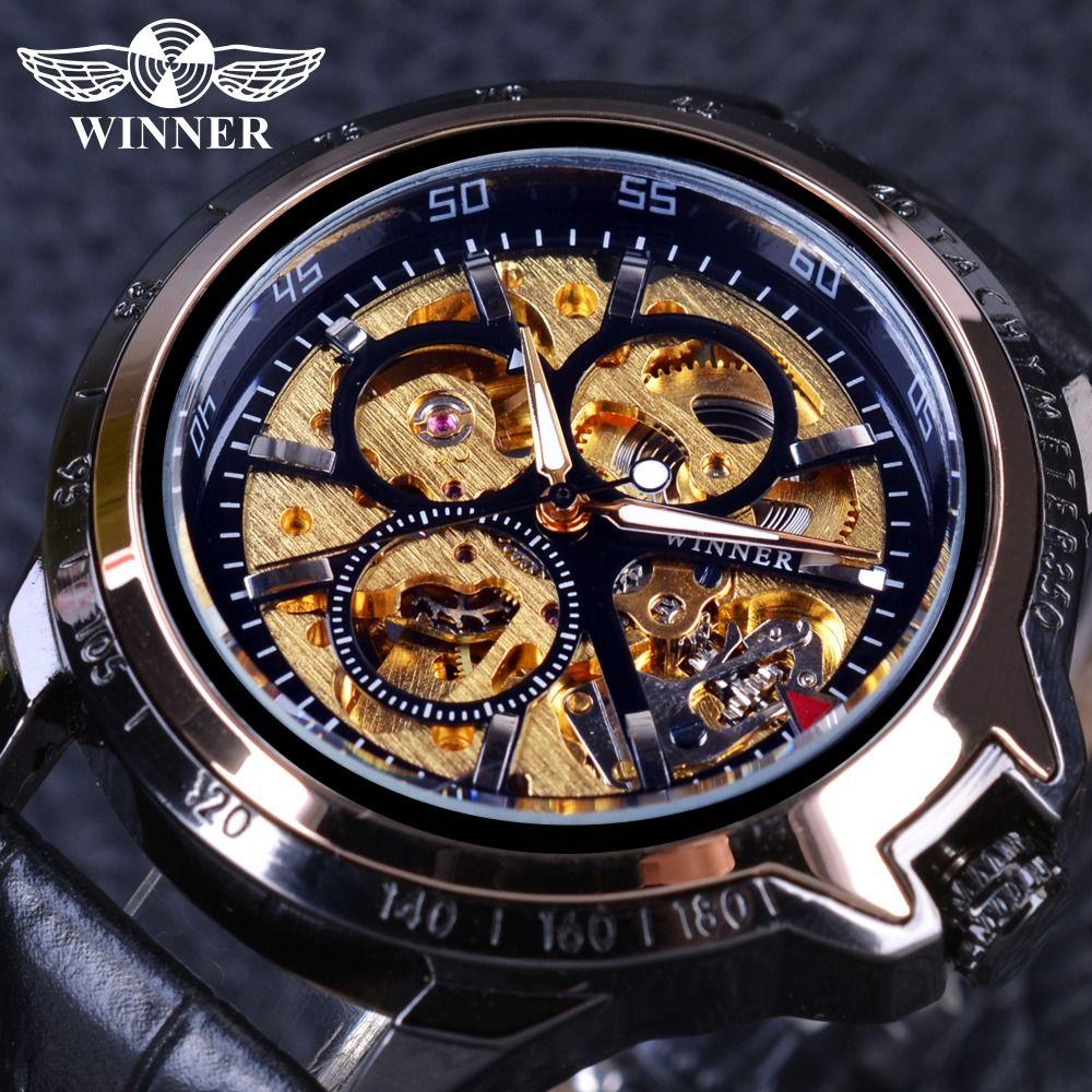 b586933566f Compre Vencedor De Moda De Luxo Esqueleto Militar Design Preto Caso De Ouro  Mens Relógios Top Marca De Luxo Masculino Relógio De Pulso Relógio  Automático De ...