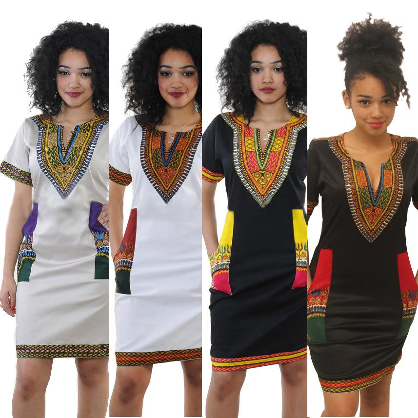 1e9dee3f425 New African Mini Dress Fashion Woman Sexy Bohemian Traditional African  Print Dashiki Bodycon Dress V Neck Short Sleeves Tribe Kaftan XXXL White  Dress For ...