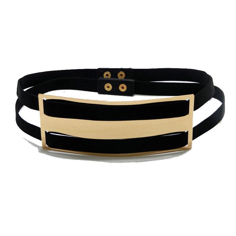 378efb02fd064 Wholesale- New Lady Designer Belts for Women Wide Gold Plate Black ...