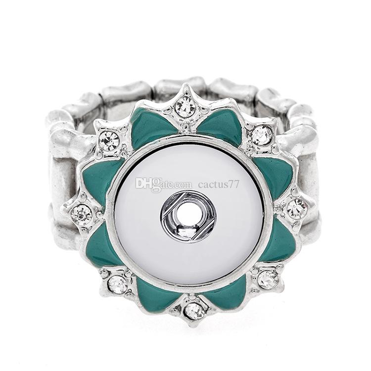 Noosa 12MM Snap Button Rings Fashion Crystal Ginger Snaps Adjustable Elastic Button Rings Party Gift Jewelry