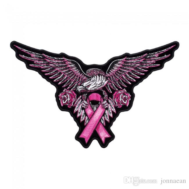 Large Pink Eagle Breast Cancer Ribbon Patch, Awareness Embroidered Iron On Or Sew On Patches 10.5*6.5 INCH