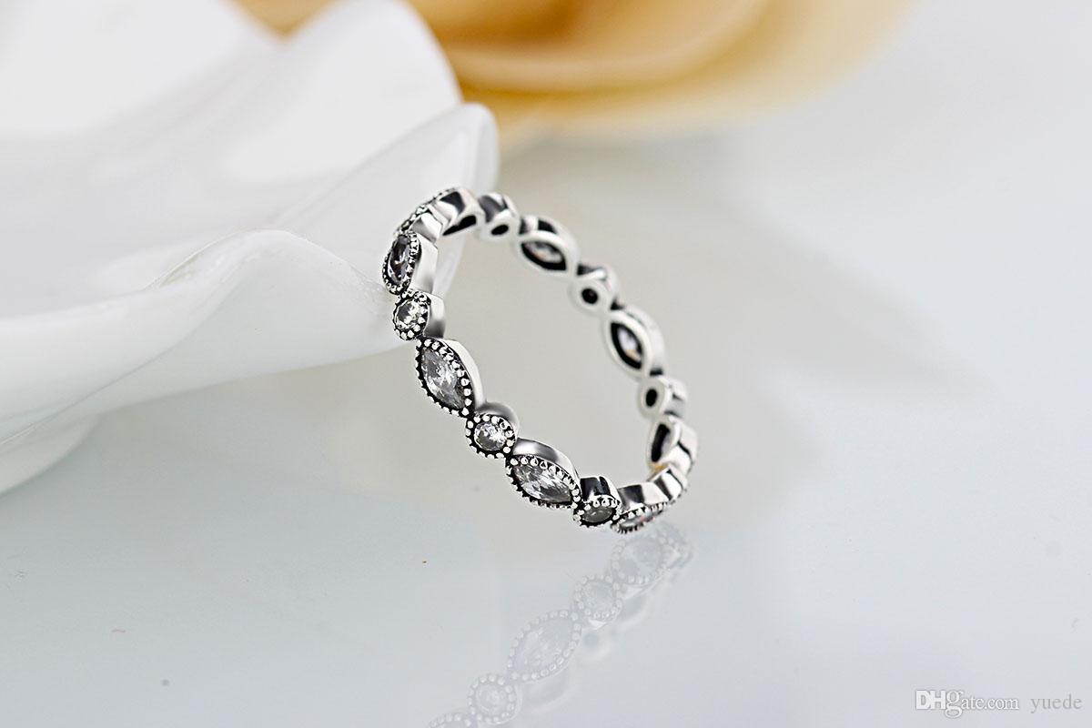 En gros nouvelle européenne rétro diamant 925 Argent Signature Pave Anneau Rond Ajustement Fit Pandora Cubique Zircone Anniversaire Bijoux pour Femmes rins