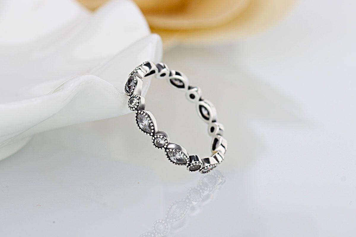 여성 RINS 도매 새로운 유럽 복고풍 다이아몬드 925 실버 서명 헬기 라운드 링 맞춤 판도라 큐빅 지르코니아 주년 기념 보석