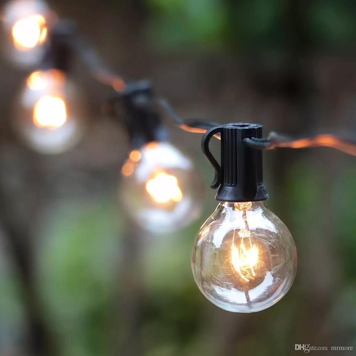25Ft G40 Bulb Globe String Lights With Clear Bulbs Backyard Patio Lights,  Vintage Bulbs ,Decorative Outdoor Garland Wedding 25Ft G40 Bulb Globe  String ...