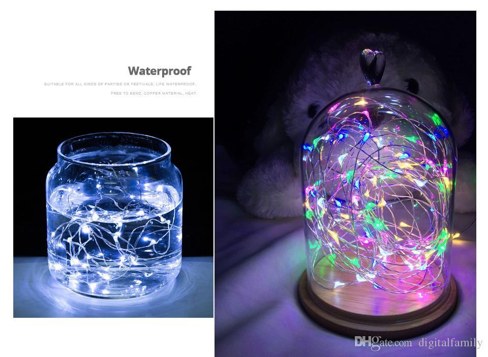 Kupfer Silberdraht LED String Lights 1m 2m 3m 5m 6m 10m Wasserdichte Urlaub LED-Streifen für Fee Weihnachtsbaum Hochzeit Halloween