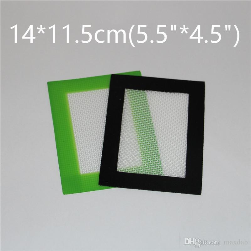 Venta al por mayor de silicona antiadherente Dab Mat para cera de 140 * 115 mm 5.5 * 4.5 pulgadas Cera de cera BHO Dab Pad esteras esteras de silicona