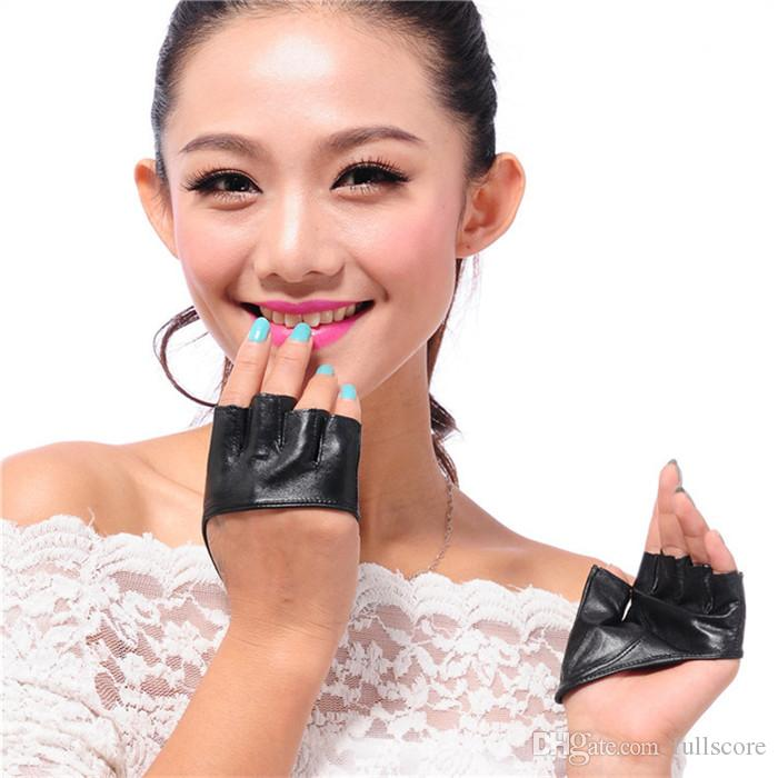 Art- und Weisehalbfinger PU-Lederhandschuhe Ladys fingerloses Fahren Nachtclub Pole-Tanzen-Show-Handschuh-Fabrik-Großverkauf