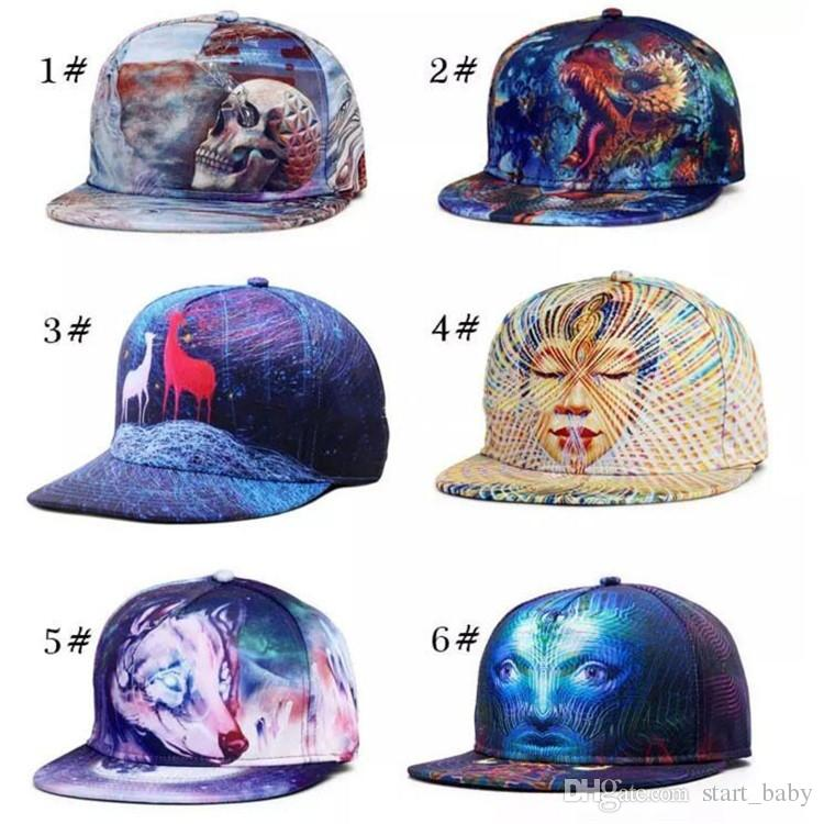2b917702284 2019 2017 New 3D Printing Caps Pattern Sports Hats Baseball Cap Women Men  Caps Fitted Snap Fashion Hip Hop Caps 34 Styles From Start baby