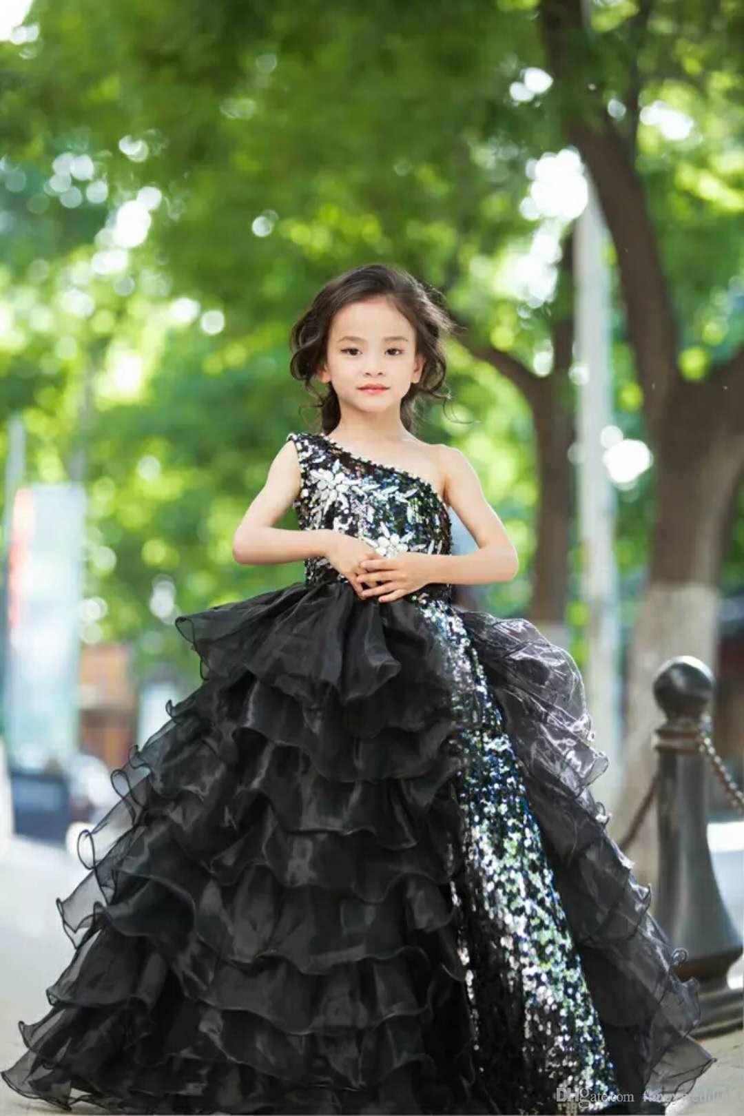 Um Ombro Squined vestido de Baile Até O Chão Fuffles Show Vestidos Bonito CHic Girl's Pageant Vestidos Baratos