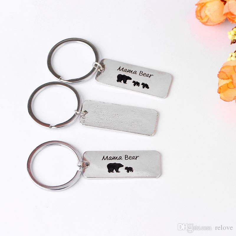 "2017 new arrival Letter Keychain key chain Pendant "" Mama bear "" key rings Fashion jewelry Alloy Keychain wholesale price"