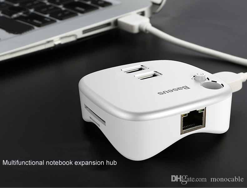 High Speed 2 Ports USB 3.0 HUB with TF/SD Card Reader to RJ45 Gigabit Ethernet Lan Wired Network Adapter for Window Mac