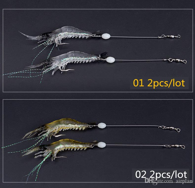 of Fishing Lure Bionic Artificial Shrimp Lures Soft Bait with Hook Luminous Night Glow Bead Fishing Tackle Pesca Hooks