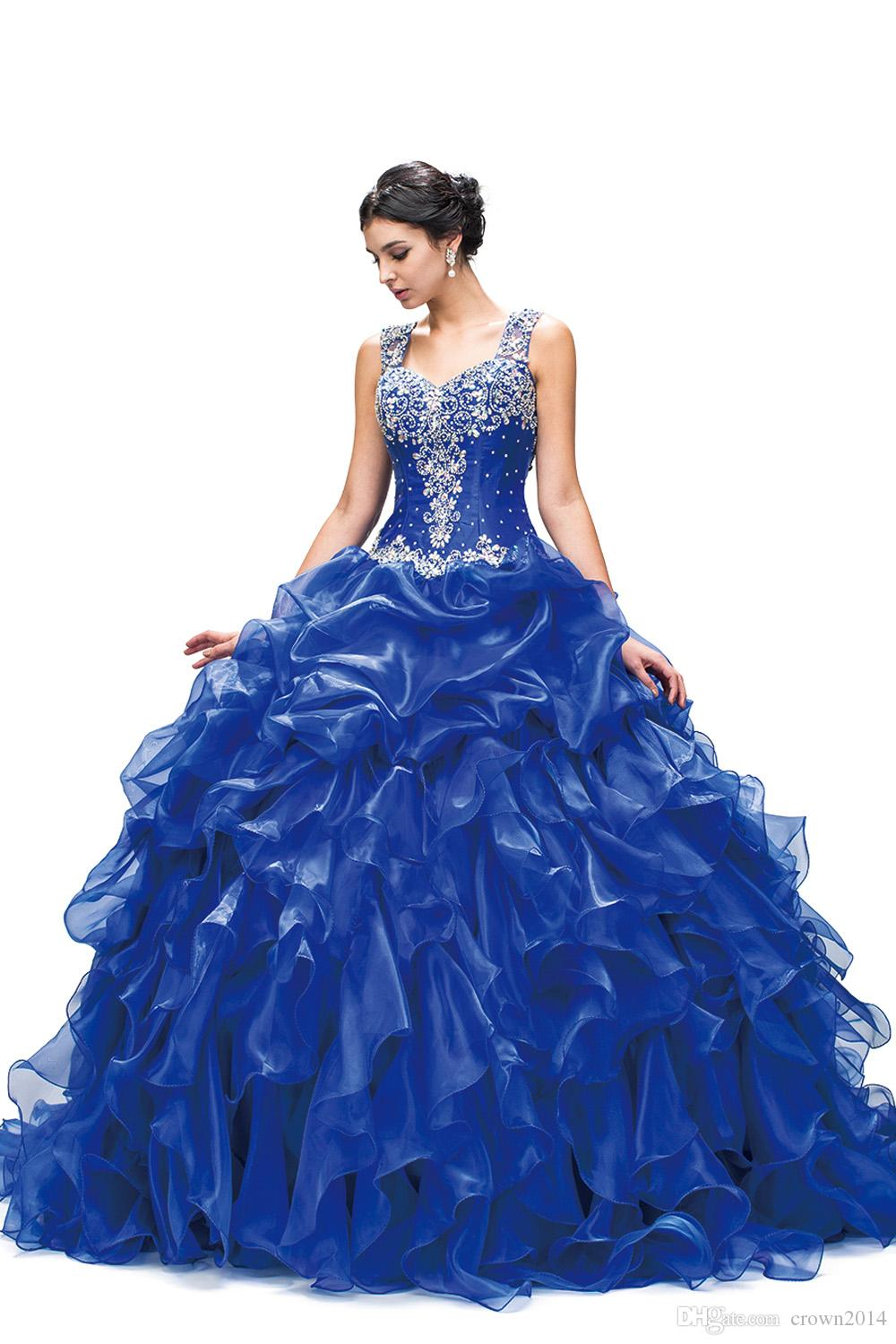 376a56d5d4b 2018 Quinceanera Dresses Royal Blue Ball Gown Organza Ruffled Layered Beaded  Crystal Long Sweep Train Party Prom Ball Gowns Quinceanera Dresses In Pink  ...
