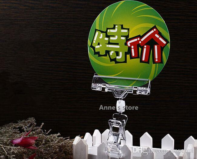 Hot sale Clear Plastic Sign Paper Memo Card Holder Display POP Swivel Double Promotion Clips label holder snap