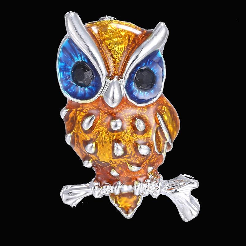 Broche animaux broches mini mignon jaune petit aigle argent plaqué strass broche bule yeux femmes cristal broches bijoux