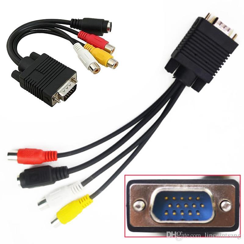 VGA SVGA a S-Video 3 RCA Composite AV Uscita Tv Cavo Adattatore convertitore cavo PC