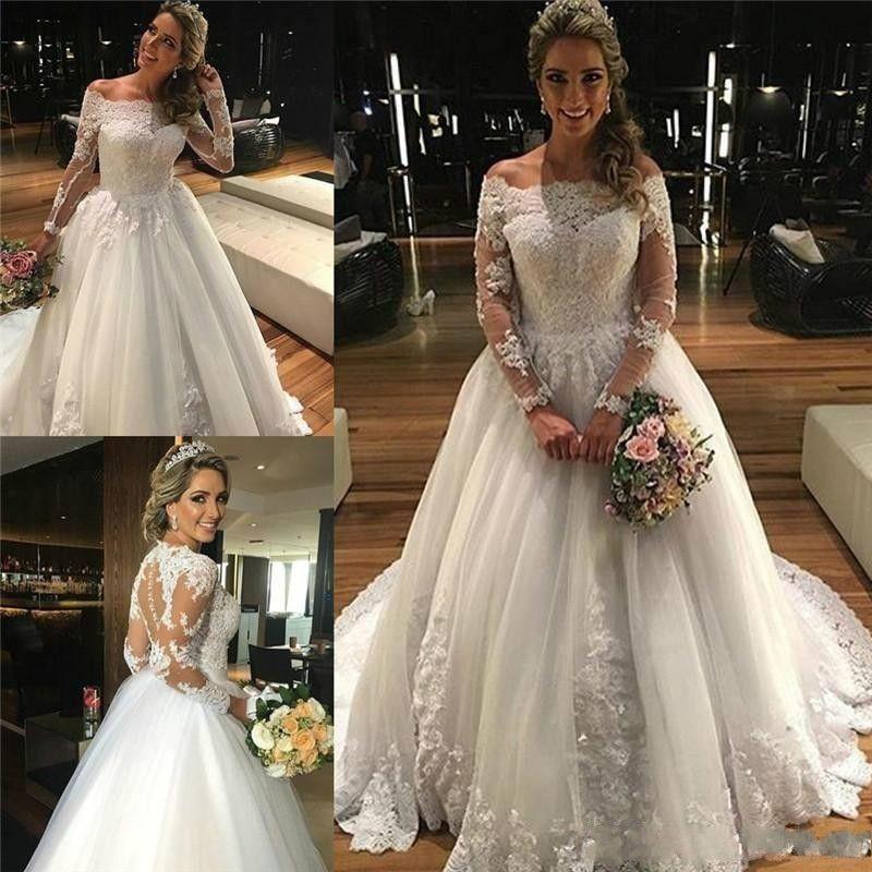 Discount Garden Off Shoulder Princess Wedding Dresses 2018