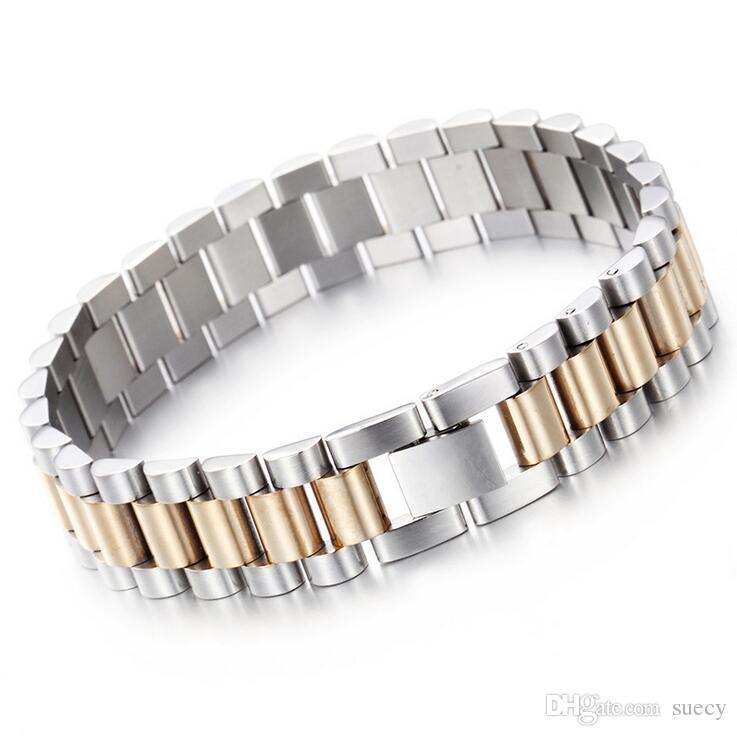 10mm / 15mm Lüks Mens Womens Hiphop Watch Band Biker Bilezik Altın Gümüş Punk ayarlanabilir 316L Paslanmaz Çelik Kayış Manşet Bilezik Takı