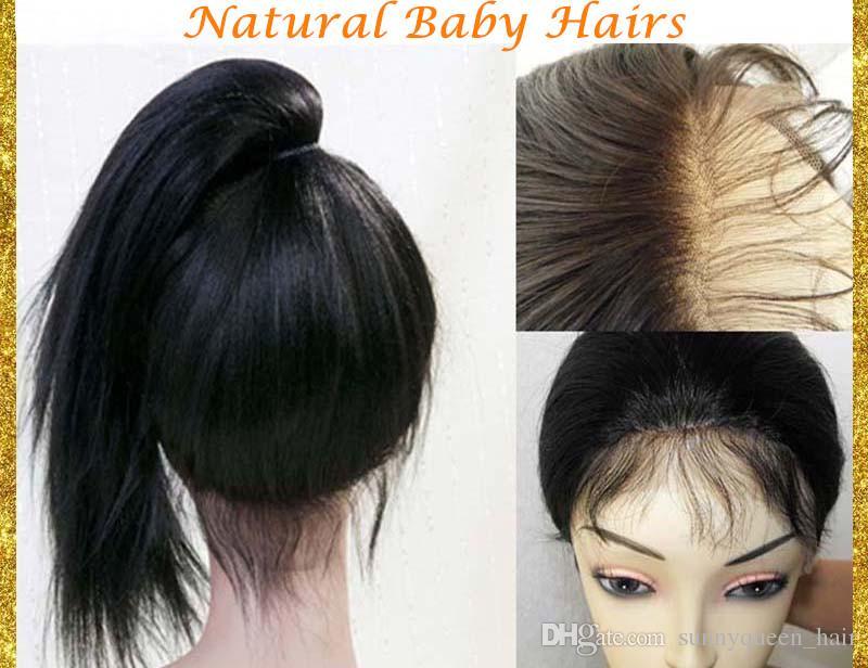Pelucas llenas del cordón del cabello humano de la Virgen de las pelucas llenas del cordón del pelo humano de la Virgen pelucas delanteras del cordón para las mujeres negras con el pelo del bebé